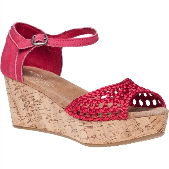 13e9cf6be80 Toms Shoes -  TOMS  Platform Wedge Sandal Pink Woven Fabric
